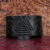 Black Valknut Leather cuff