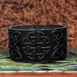 Black Quaternary Knot Leather cuff