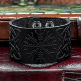 Black Helm of Awe Leather cuff