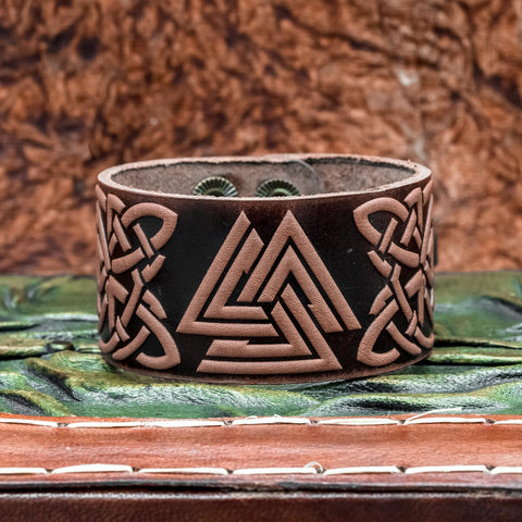 Brown Valknut Leather cuff