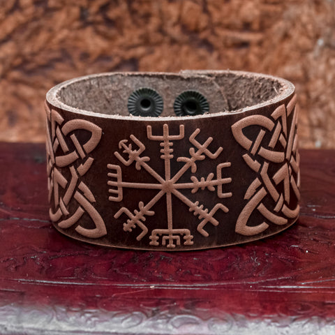 Brown Vegvisir Leather cuff