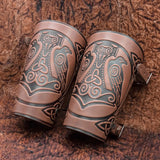 Brown Huginn & Munnin Mjolnir Leather Bracer