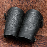 Mjolnir, Huginn and Munnin Leather Bracers/Arm Guards
