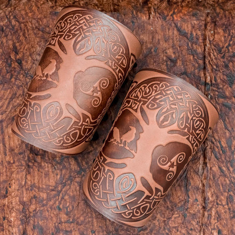 Brown Yggdrasil Leather Bracer/Wide Leather Cuff