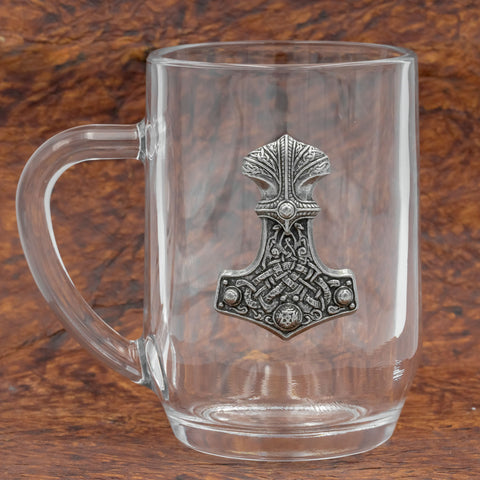 Glass and Pewter Thor's Hammer Tankard/Mug