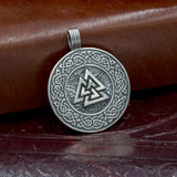 sterling silver hand made valknut pendant amulet uk