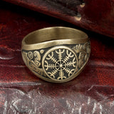 Bronze Ravens Helm of Awe Ring