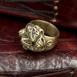 Bronze Skoll and Hati Wolves Ring
