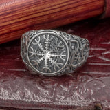 Sterling Silver Urnes Helm of Awe Ring