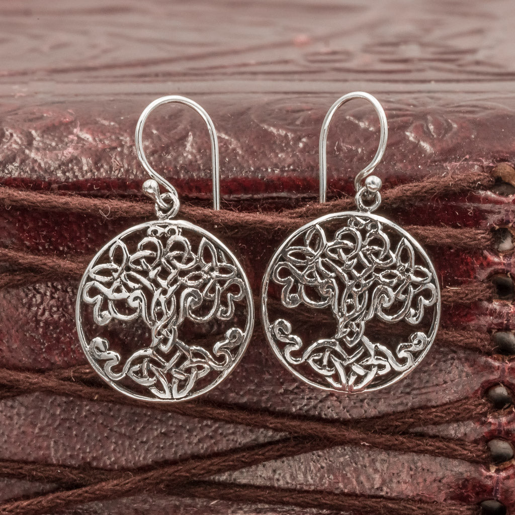 Sterling Silver Tree Of Life Yggdrasill Earrings