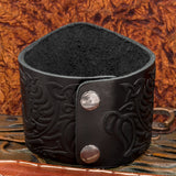 Black Tree of Life (Yggdrasill) with Freki and Geri Wolves Wide Leather Cuff