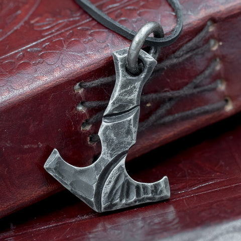 norse viking skullvikings hand forged traditional thors hammer pendant on leather