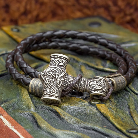 Bronze Thor's Hammer (Mjolnir) Leather Hook Bracelet