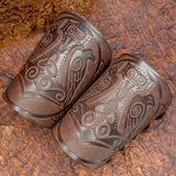 Brown Huginn & Munnin Mjolnir Leather Bracer/Wide Cuff