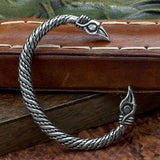 Pewter Asgard Raven Head Arm Ring Twisted Band
