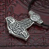 skullvikings 925 Sterling Silver Thor's Hammer with Vegvisir and Goats uk