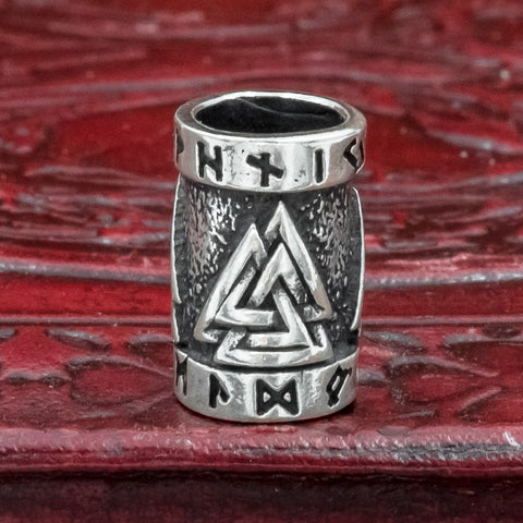 Sterling Silver Valknut Hair & Beard Bead