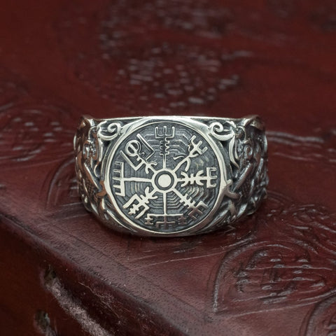 skullvikings viking norse 925 sterling silver vegvisir mammen axe ring uk