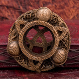 Triquetra Carved Wood Candle Holder
