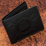 skullvikings black leather viking valknut wallet uk