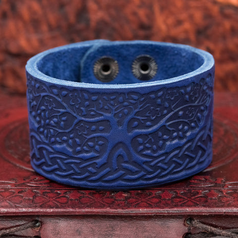 Blue Tree of Life (Yggdrasill) Leather cuff