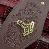 Brown Leather Bronze Mjolnir Wide Cuff