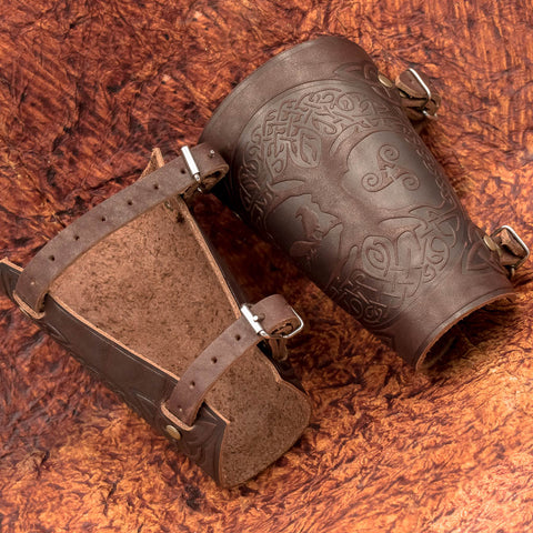 Brown Yggdrasil Leather Bracers/Arm Guards
