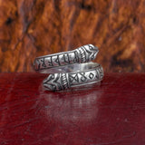 Sterling Silver Raven Headed Rune Ring
