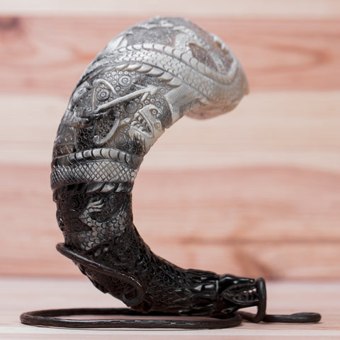 The Battle of Sigurd and Fafnir carved drinking horn