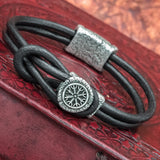 Silver plated Valknut Helm of Awe Hook Bracelet