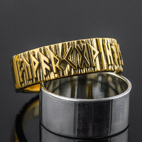14K Gold Rune Ring/Wedding Band
