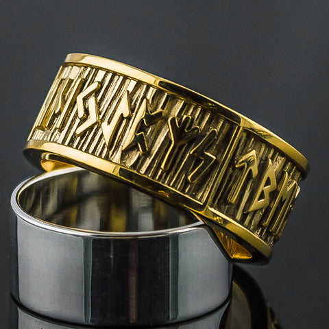 18K Gold Rune Ring/Wedding Band