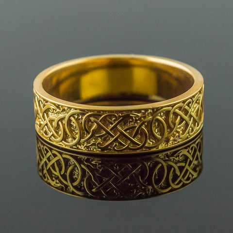 18K Gold Urnes Knotwork Ring/Wedding Band