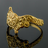 14K Gold Helm of Awe with Wolves Ring