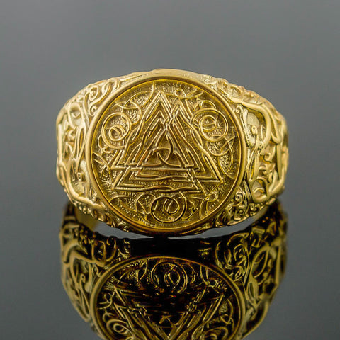 14K Gold Urnes Valknut Ring