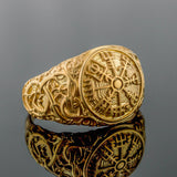 14K Gold Urnes Vegvisir Ring