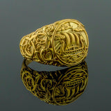 18K Gold Longship Urnes Ring