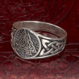 Sterling Silver Valknut and Knotwork Ring