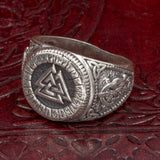 Sterling Silver Valknut and Rune Ring