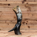 skullvikings viking norse larp larping real drinking horn with brass rim and horn stand