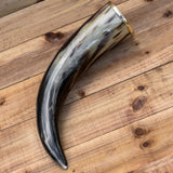 skullvikings viking norse larp larping real natural drinking horn with brass rim uk