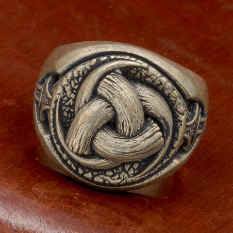 Bronze Horns of Odin (Triskelion) Silver Plated Bronze Ring