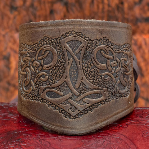 skullvikings viking norse larp larping wide leather cuff short arm bracer thor's hammer uk