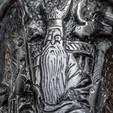Odin with Ravens and Wolves Carved Horn