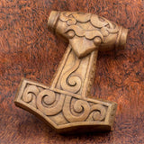 hand carved wood skane thor's hammer mjolnir wall hanging carving