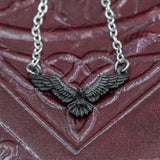 skullvikings viking norse larp larping small delicate black raven necklace chain uk