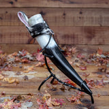 3 piece set. Drinking Horn + Furry Holder + Stand
