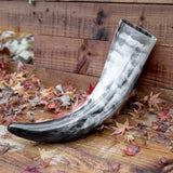skullvikings viking norse larp larping game of thrones regular polished hand made natural viking drinking horn uk