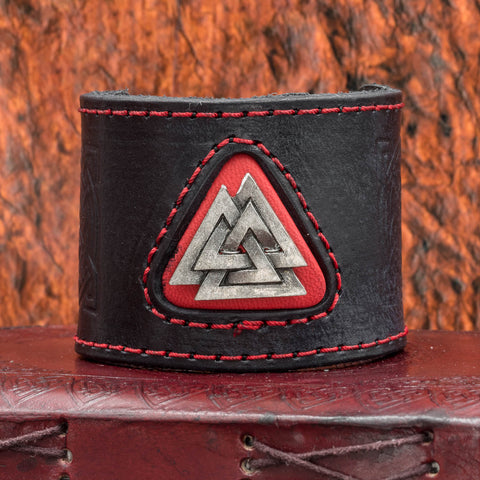 Black Valknut Metal & Leather cuff