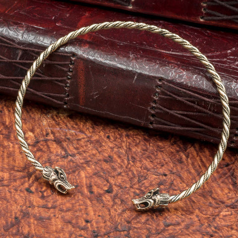 skullvikings viking norse larp larping bronze wolf fenrir neck ring torc torque uk